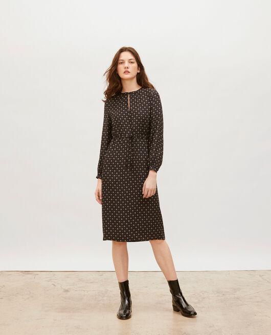 Loose silk dress  PRINT MOSAIQUE BLACK