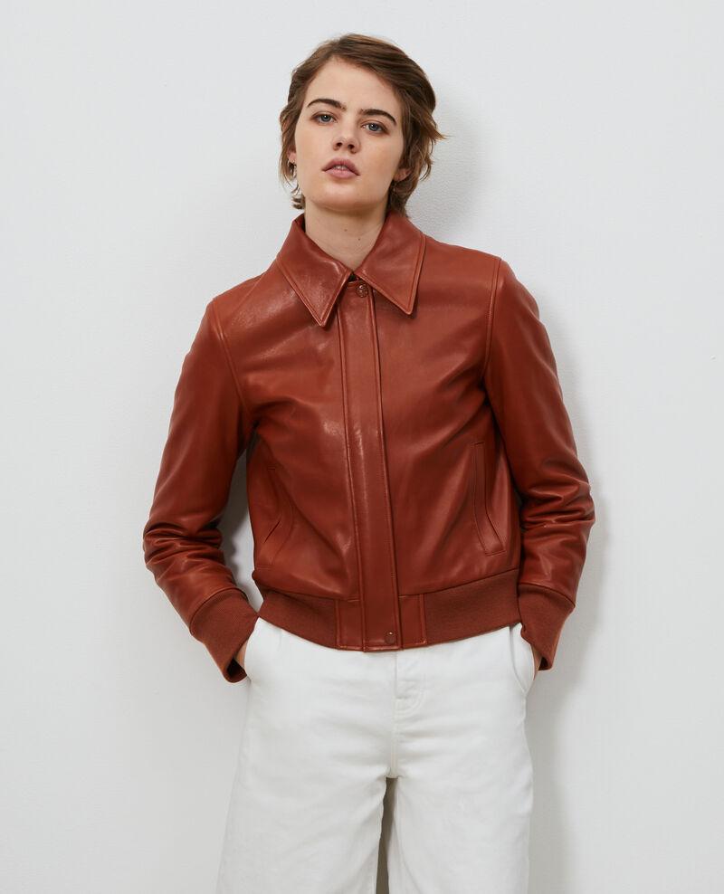 Lambskin zipped jacket. Camel Mettray