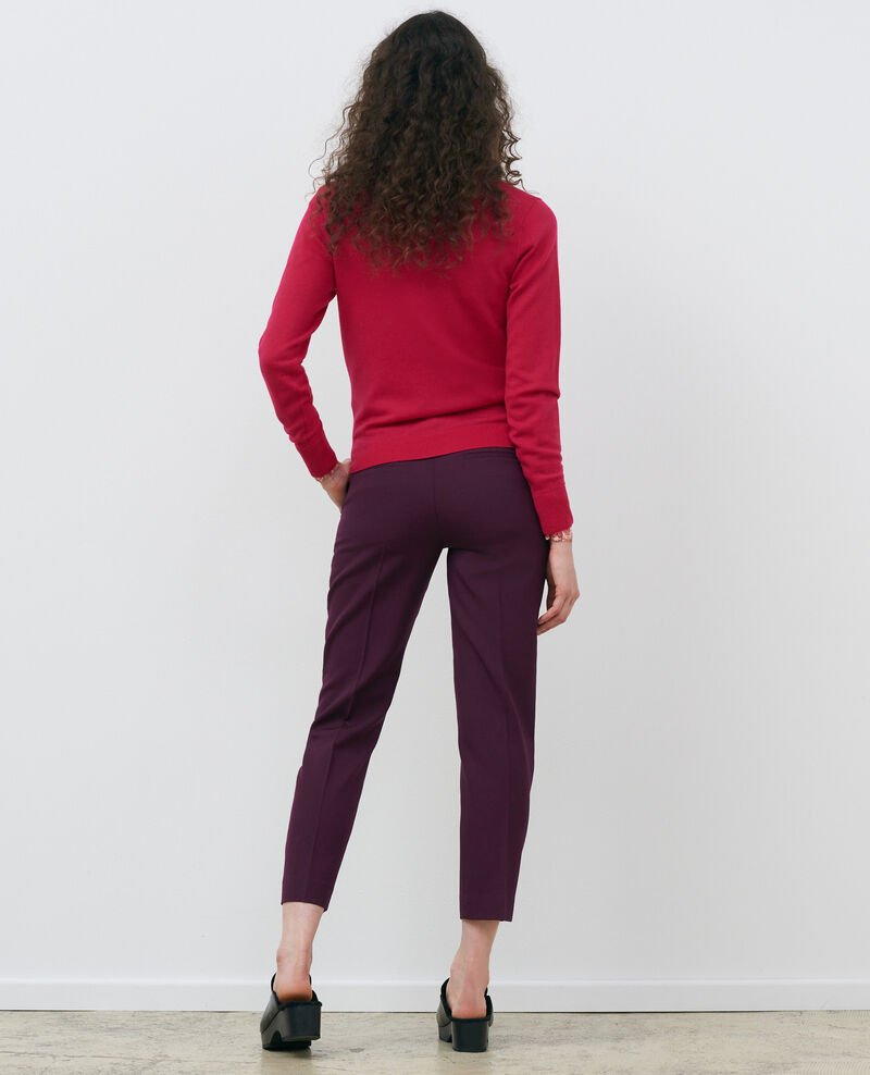 Round neck merino wool jumper Persian red Passy
