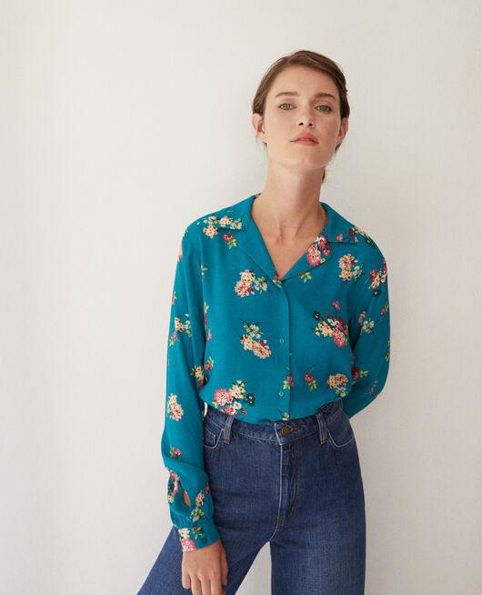 Shirt with pyjama-style collar FLEURS PACIFIC GREEN