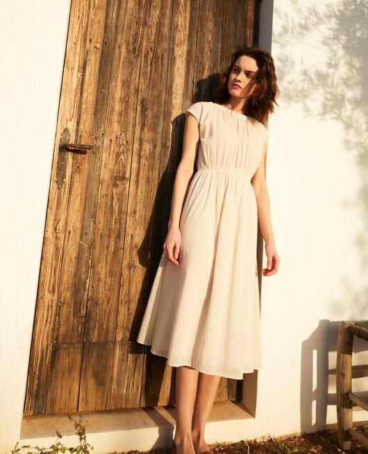 Mid-length dress LINEN/WHITE