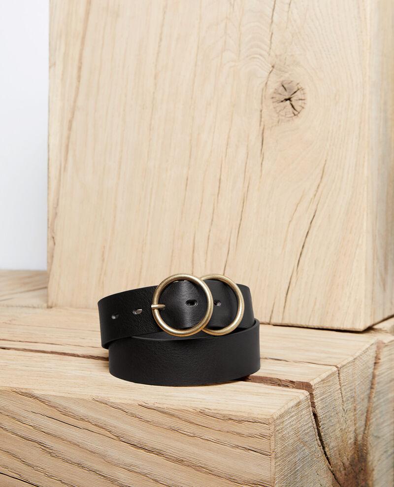 Twin buckle leather belt Noir Idoublo