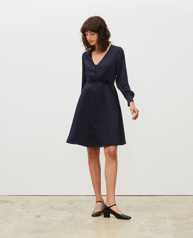 Loose button front mini dress Night sky Margonou