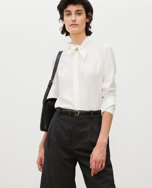 Long-sleeve tie neck silk blouse GARDENIA