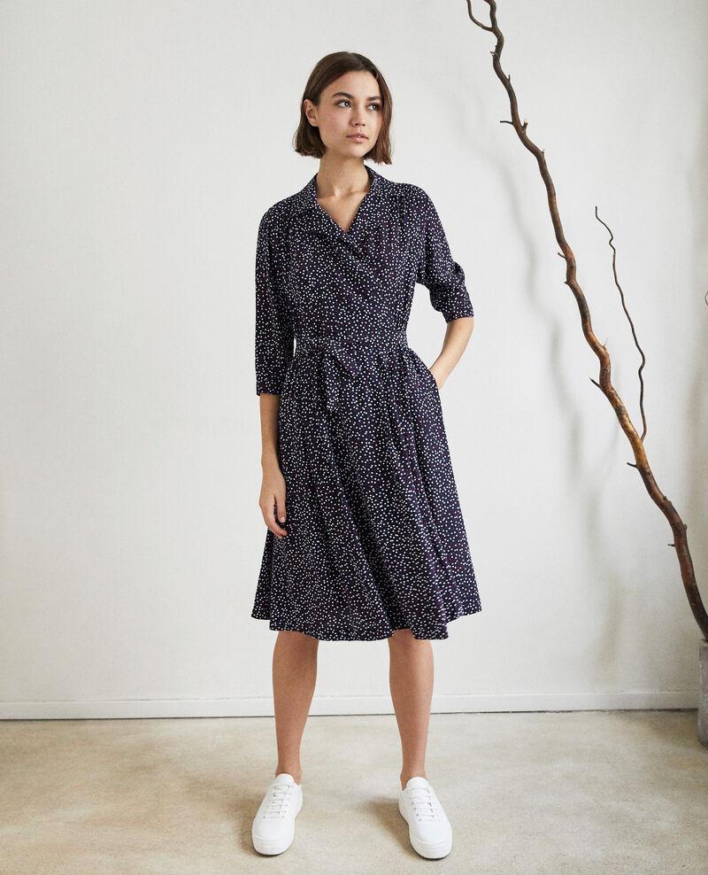 Wrap dress Dot print navy Ipage