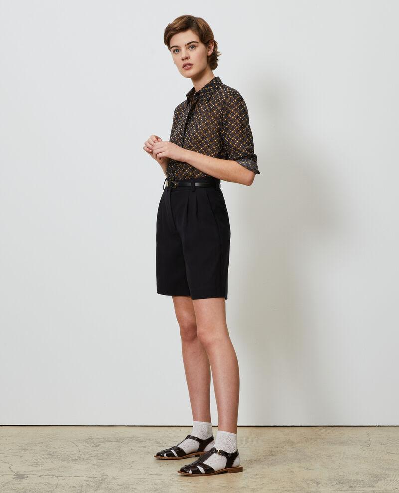 Wide high waisted bermuda shorts Black beauty Nicola