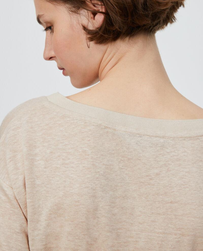 Linen V-neck t-shirt Oxford tan Locmelar