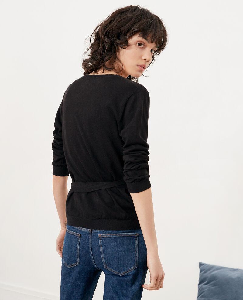 89724cb058 Wrap cardigan with linen Noir - Fulaga | Comptoir des Cotonniers