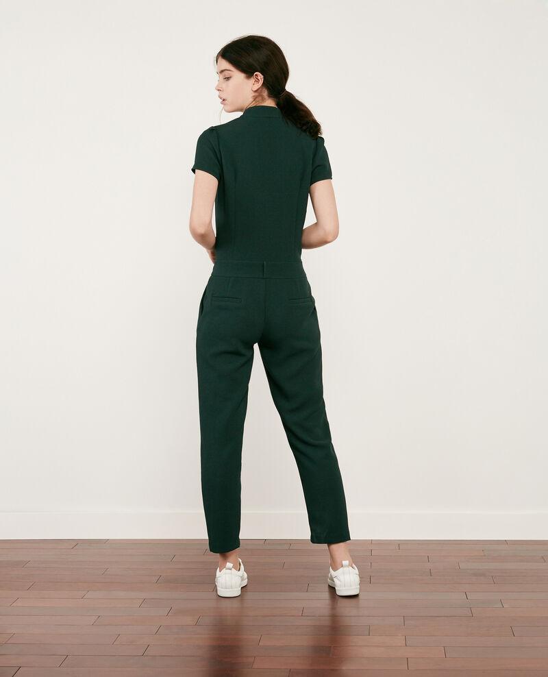 Crepe jumpsuit Deep green Cabalona