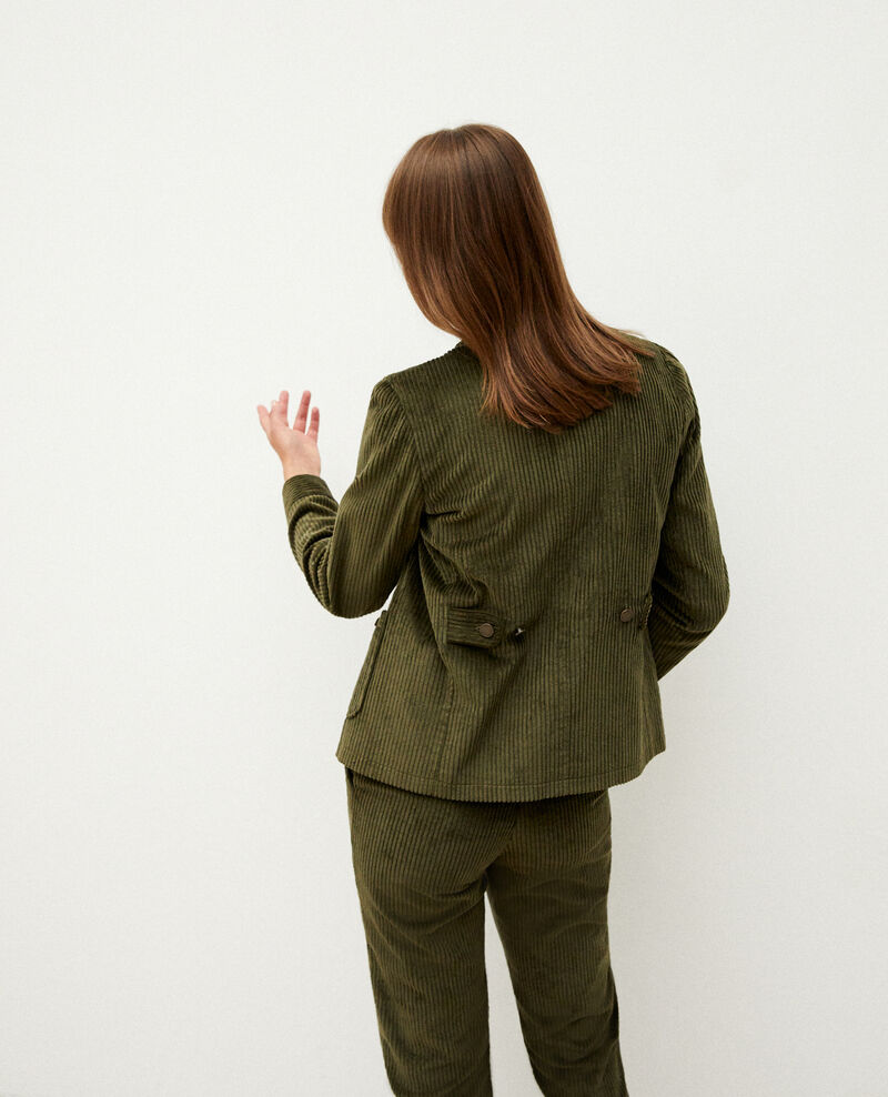 Ribbed corduroy jacket Olive night Goiseau