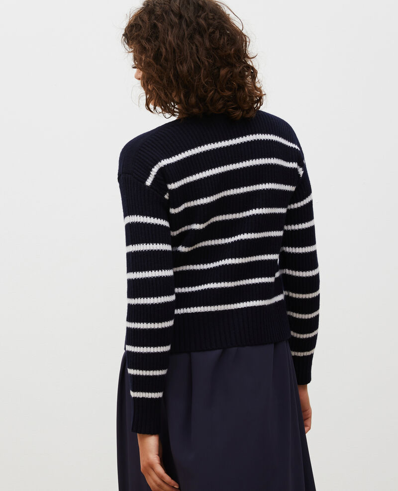 Boatneck striped wool jumper Str jetstream nt sky Marseille