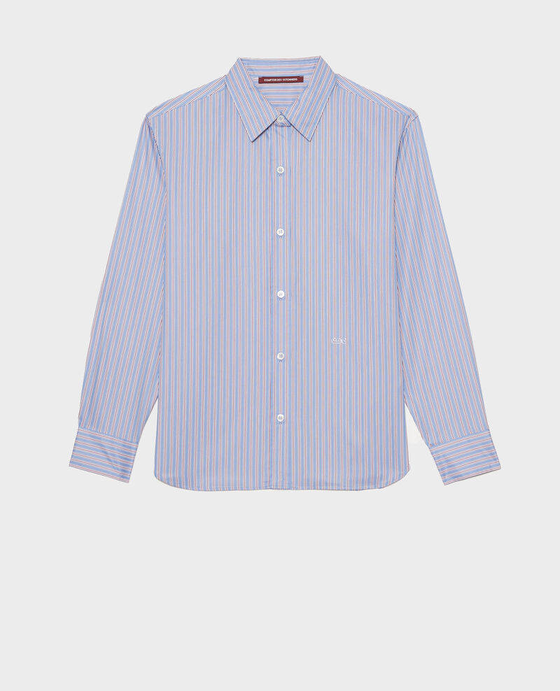 Supima cotton boyfriend shirt Stripe2 blue Myndo