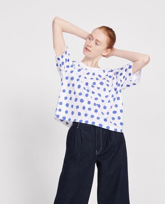 Boxy cotton t-shirt DOTS AMPARO BLUE