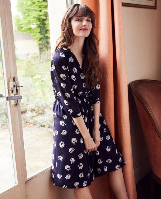 Printed shirt dress TULIP EVENING BLUE
