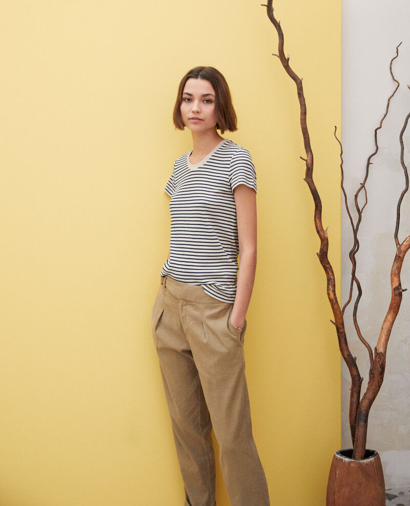 Striped T-shirt Beige/navy Ivea