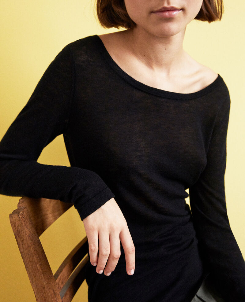 Round neck wool jumper Noir Idouard