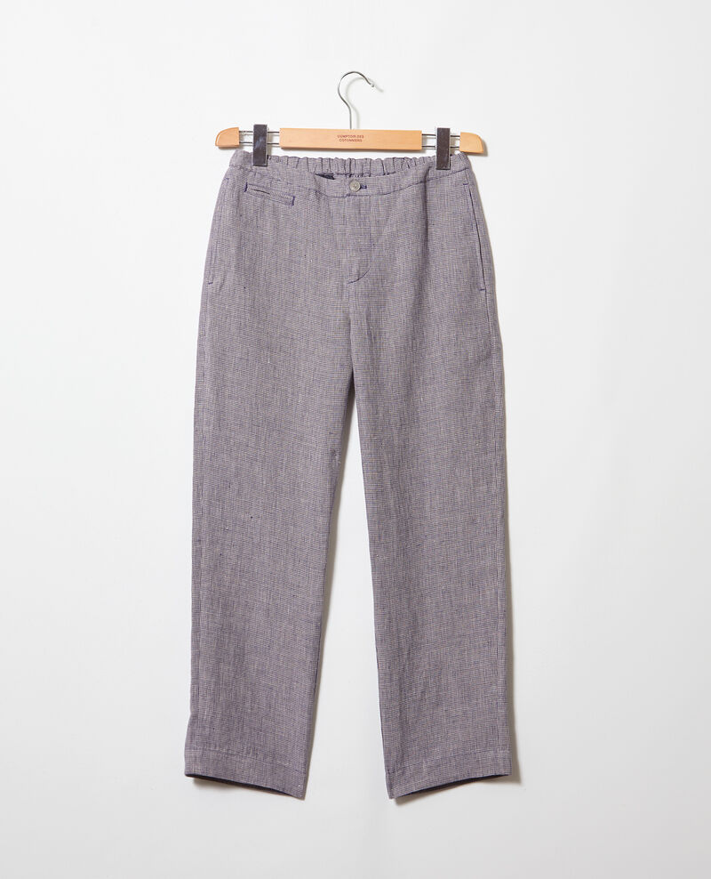 Carrot trousers Natural linen/ink navy Iphonow