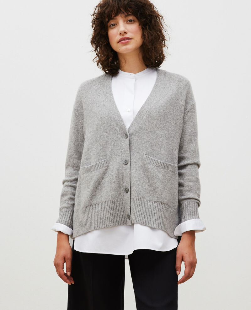 V-neck cashmere cardigan with side splits Light grey melange Moleano