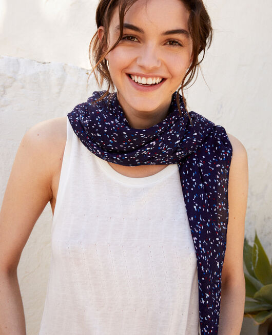 Printed scarf CONFETTI INK NAVY