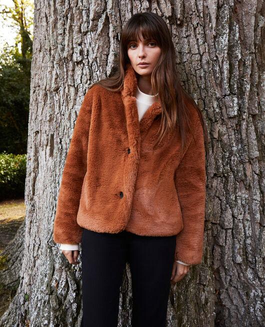 Short synthetic fur coat LION