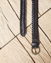 Large braided leather belt Noir Ivoba