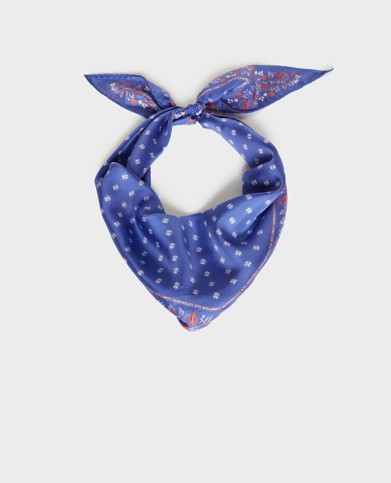 Diamond-shape silk foulard Royal blue Nandana