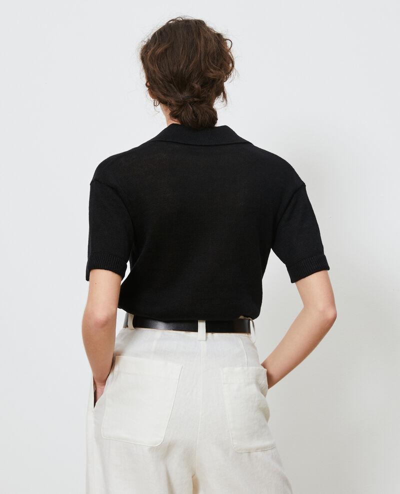 Lightweight linen polo Black beauty Novella