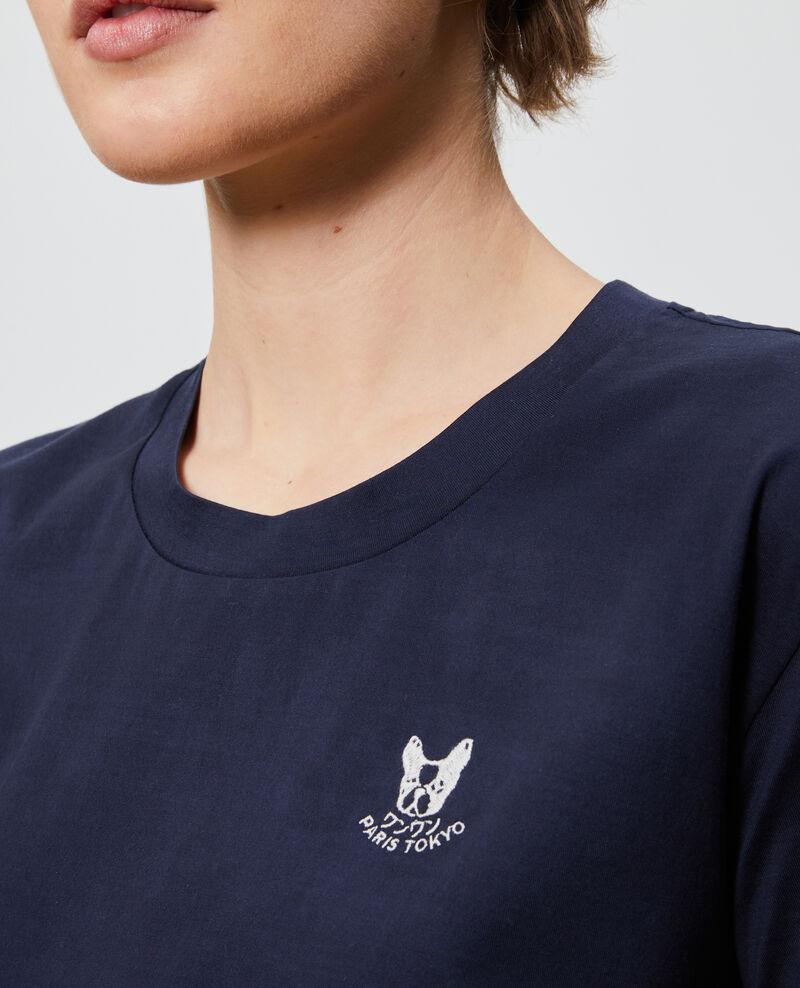 Embroidered cotton t-shirt Night sky Nagano