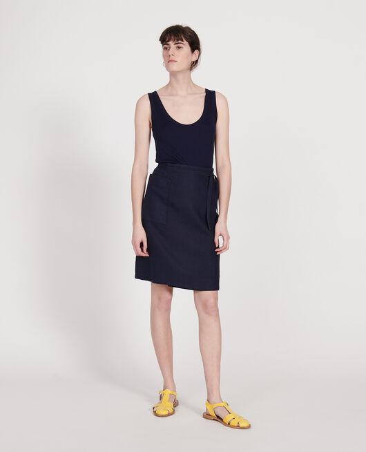 Linen wrap skirt MARITIME BLUE