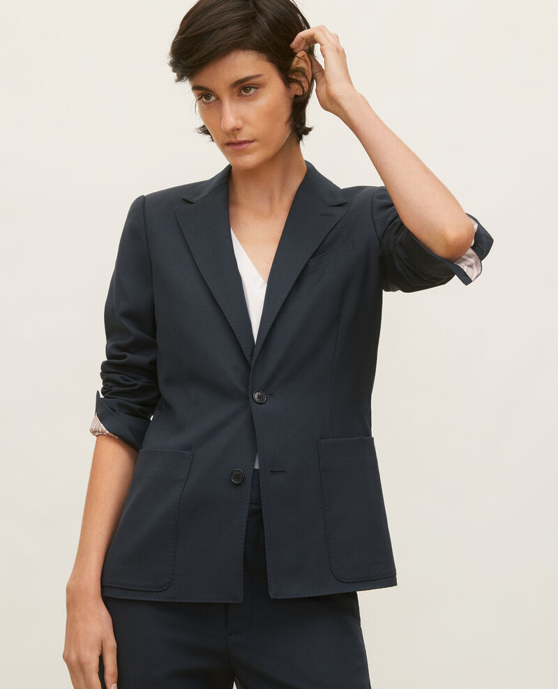 Lightweight smooth wool blazer Dark navy Luscade