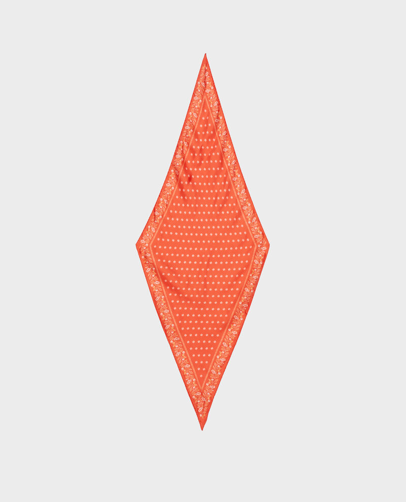 Diamond-shape silk foulard Spicy orange Nandana