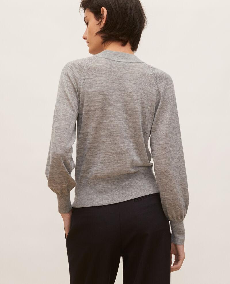 Round neck merino wool cardigan Light grey melange Molinot