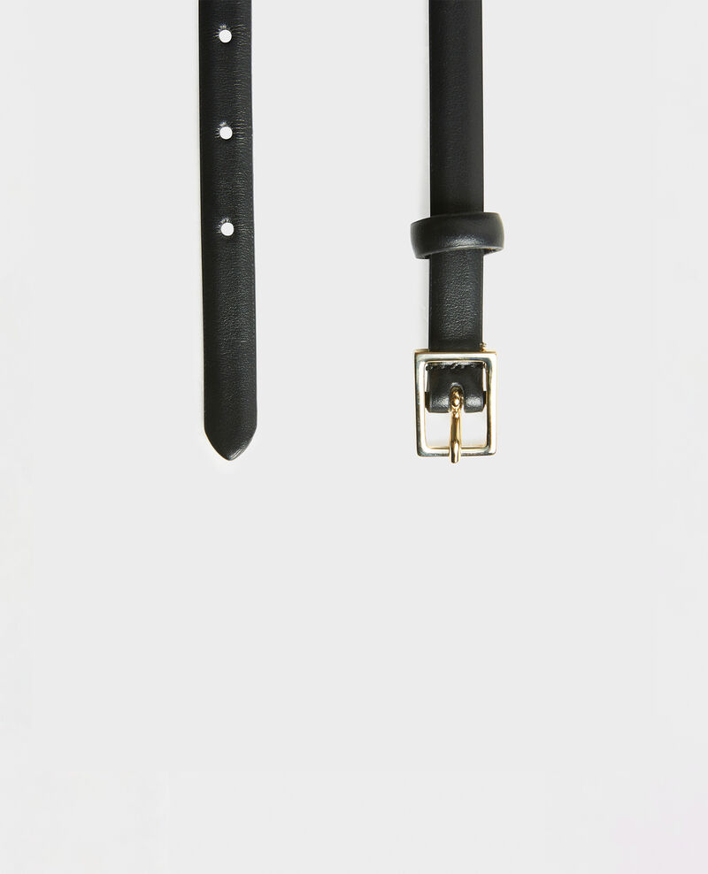 Skinny leather belt with rectangular buckle Black beauty Meillard