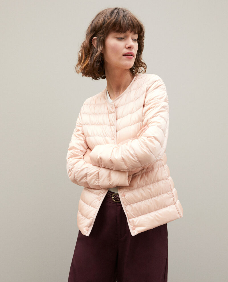 Ultra-light padded jacket with round collar Light pink Fildown