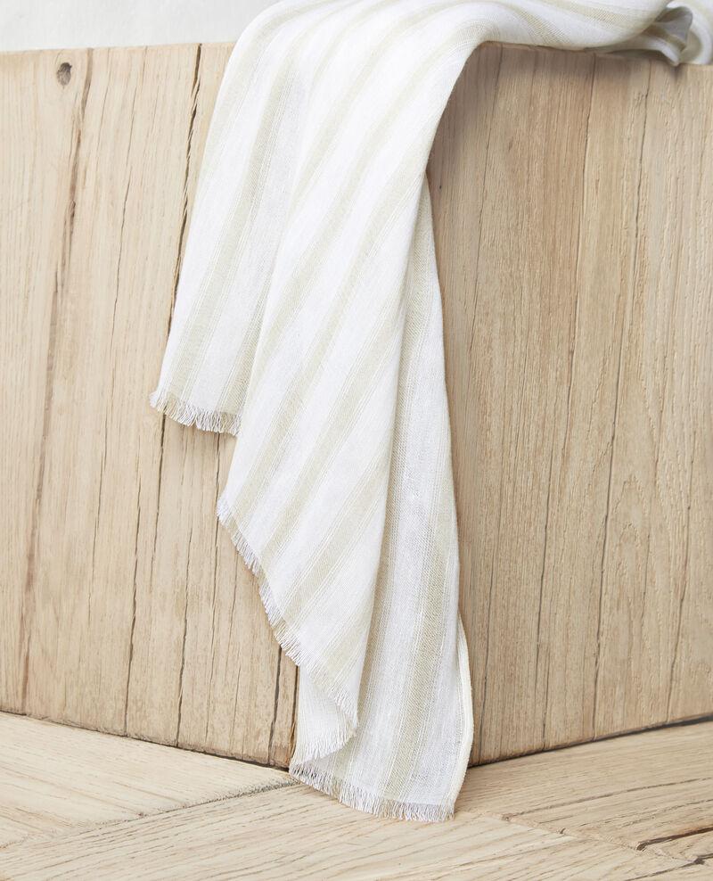 Linen blend scarf Sand beige/w Iclo