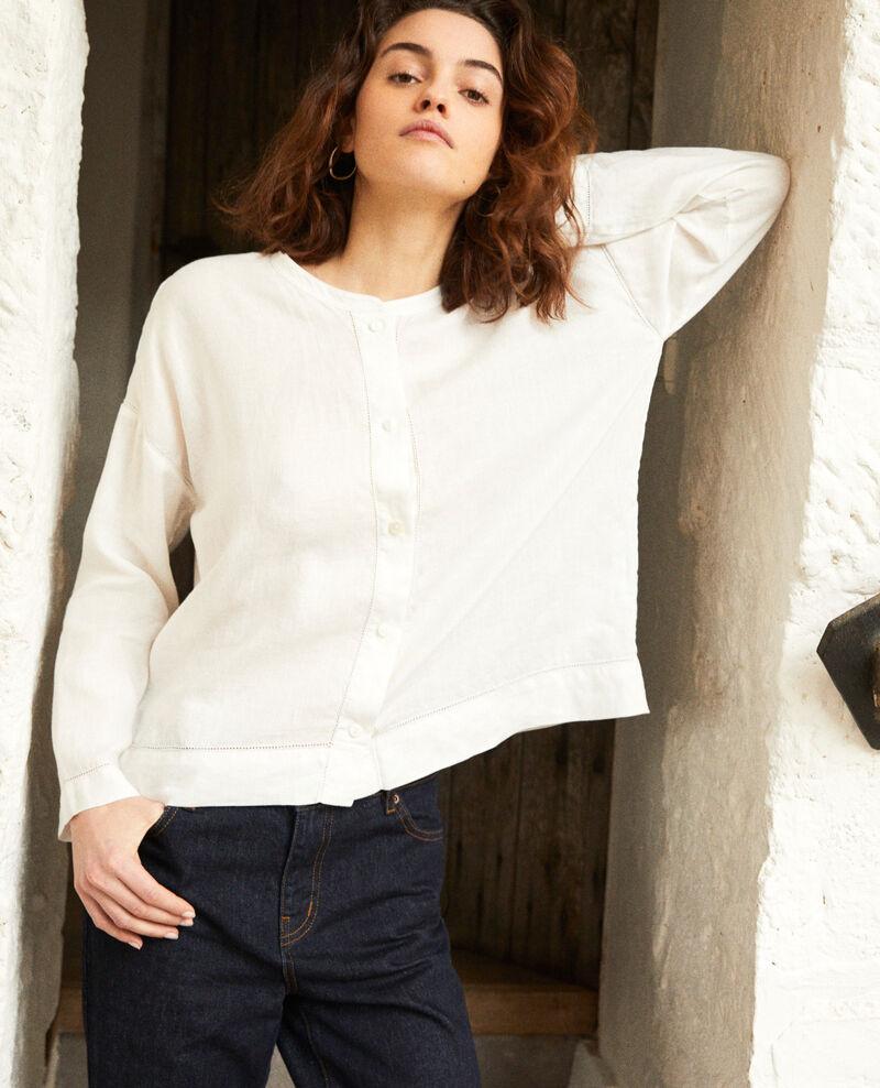 Linen blouse with Mao collar Off white 9izera