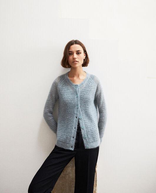 Novelty knit cardigan BLUE MIRAGE