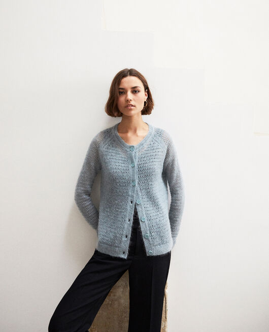 Novelty knit cardigan BLUE MIRAGE