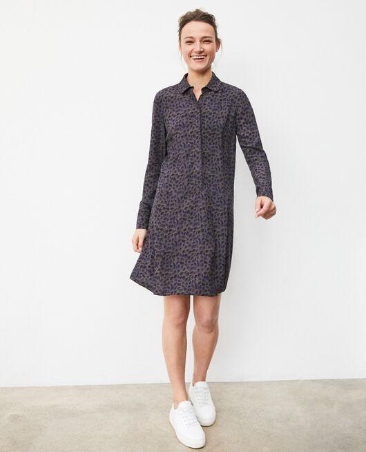 Straight-cut dress DOT LEAVES OLIVE NIGHT