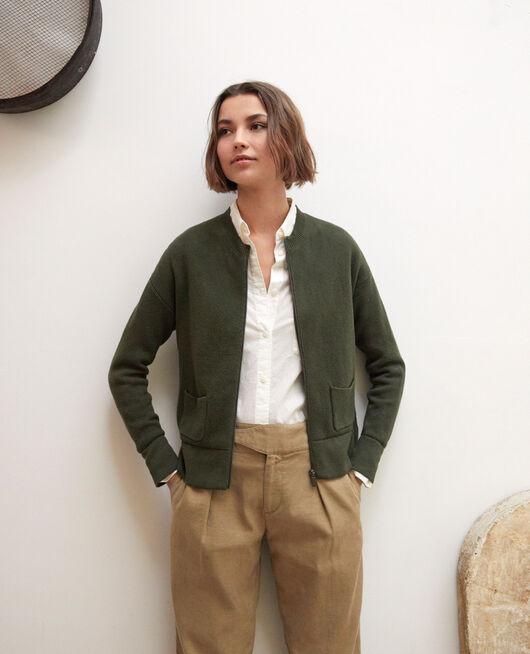 Zip-up cardigan OLIVE GREEN
