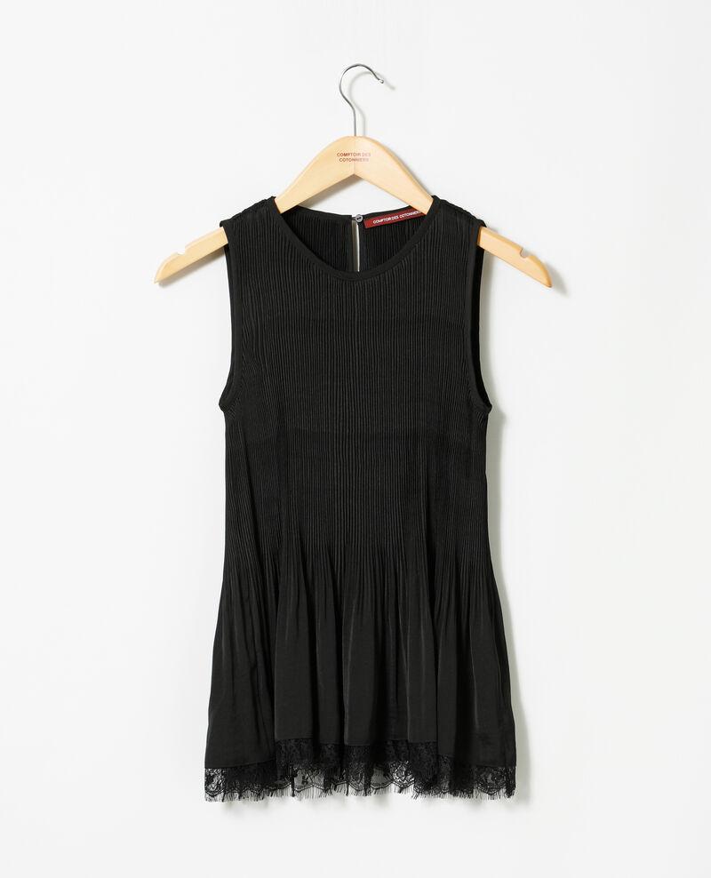 Pleated blouse with lace Black Gantilles
