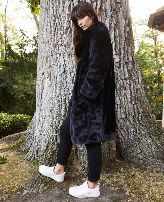 Synthetic fur coat NOIR