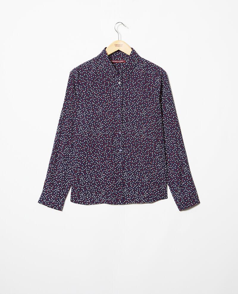 Loose shirt Dot print navy Ikarina
