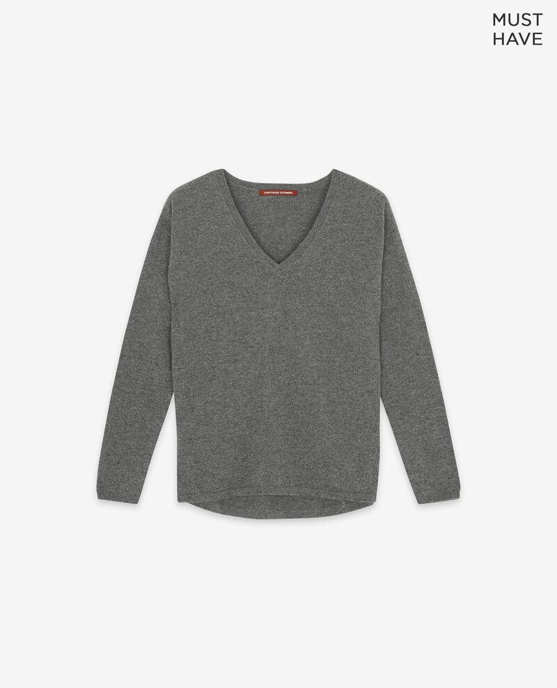 100% cashmere jumper Dark heather grey Dudoux