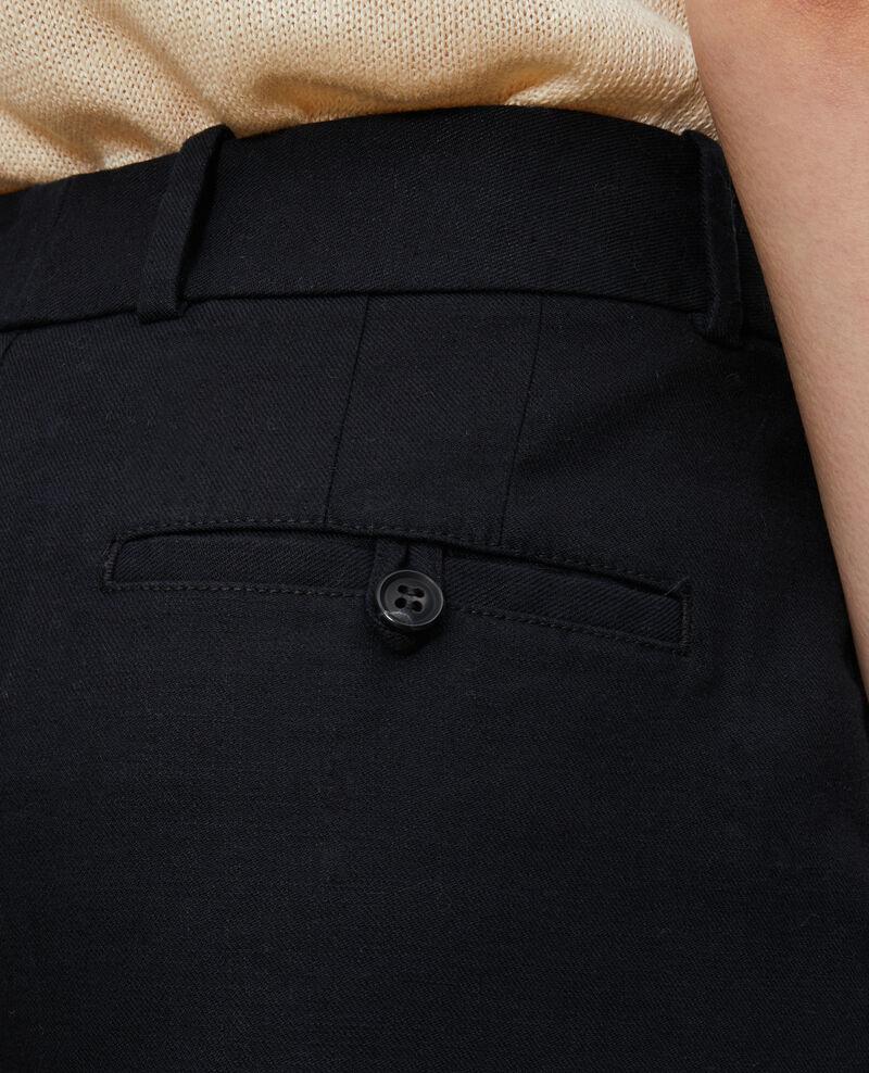 Linen and cotton 7/8 trousers MARGUERITE Black beauty Laiguillon