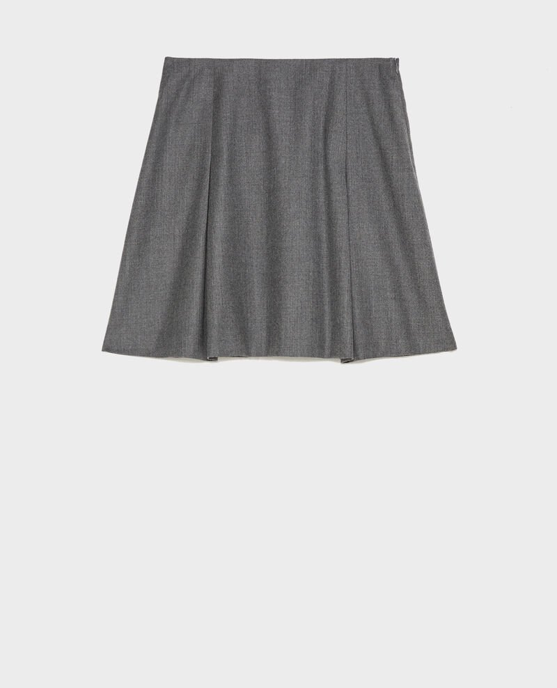 Wool flannel A-line mini skirt Medium grey melange Marcoles