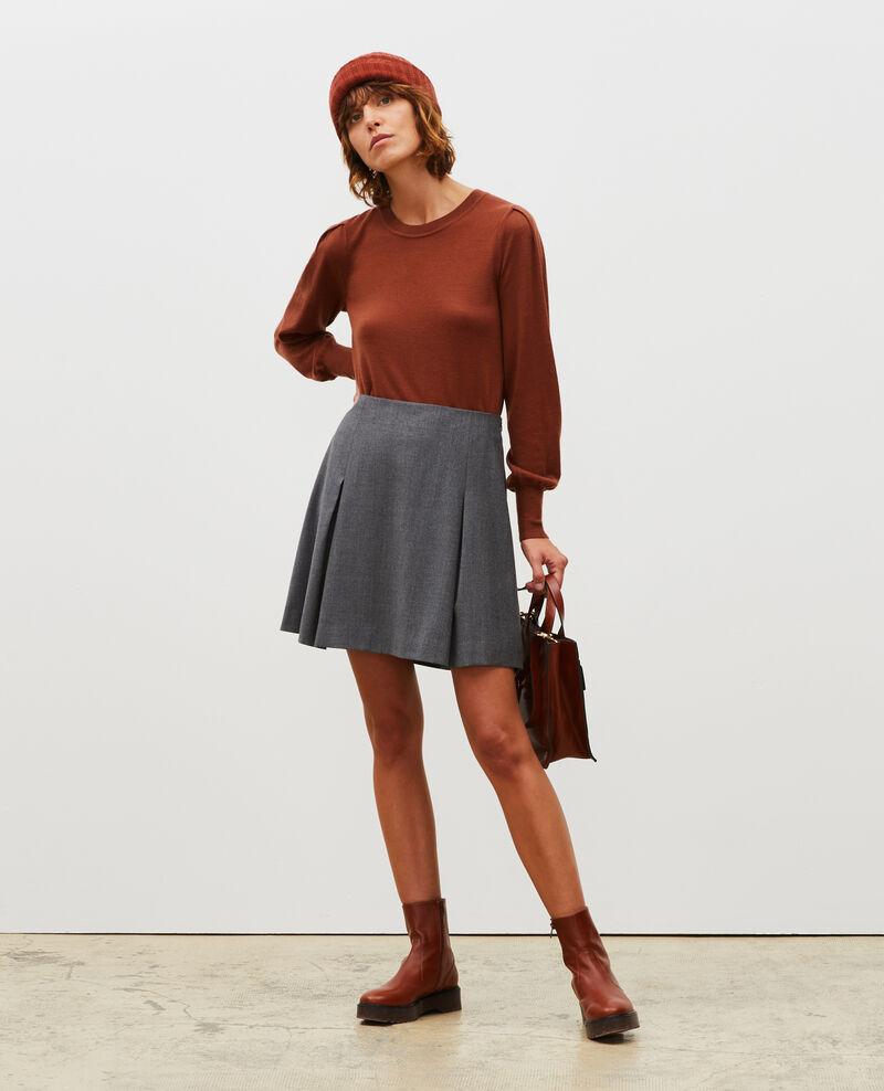 Wool flannel A-line mini skirt Medium grey melange Marcoles