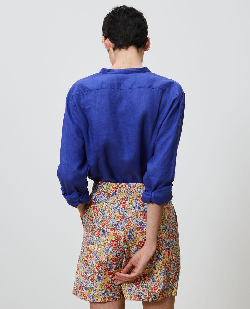 Collarless linen shirt Royal blue Nawak