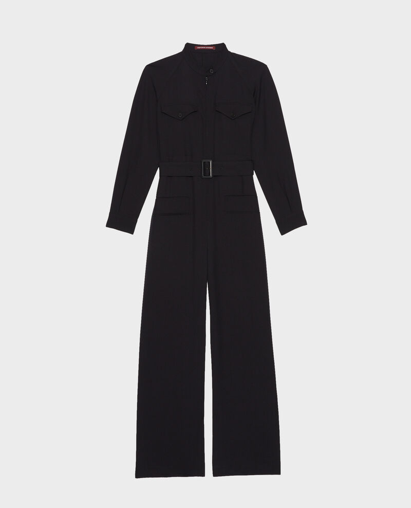 Long-sleeve wool jumpsuit Black beauty Marbiche