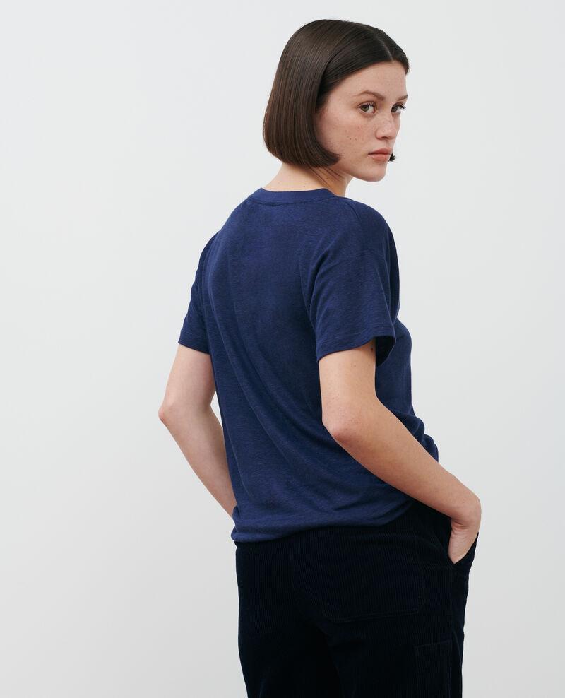 Linen V-neck t-shirt Maritime blue Locmelar